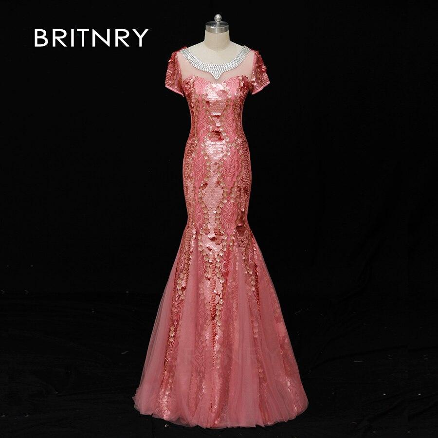 BRITNRY 2019 Sexy rose longue trompette robe de soirée à manches courtes en dentelle de mariage robe formelle sirène robes de soirée