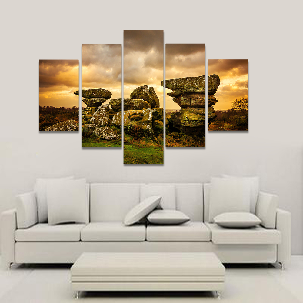 Unframed Canvas Painting Dusk Clouds Huge Stone Meadow Gate Prints Wall Pictures For Living Room Wall Art Decoration