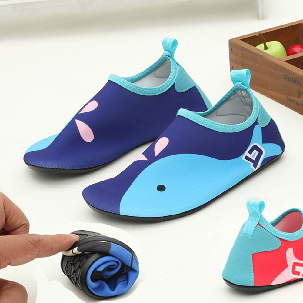 JACKSHIBO New Kid Water Shoes Anti-slip Barefoot Skin Shoes for Run Dive Surf Swim Beach Sandy Beach Aqua Shoes for Kid Swimming