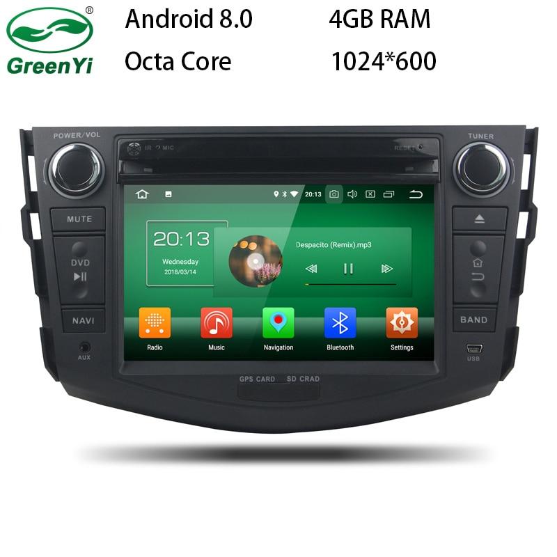 GreenYi Android 8.0 8 Core 4G RAM Car DVD GPS For Toyota RAV4 RAV 4 2006 2007 2008 2009-2012 WIFI Autoradio Multimedia Stereo цена