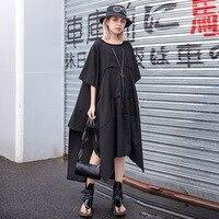 Johnature New Solid Color Black Streetwear Summer Long Dress Women O Neck Irregular Half Sleeve Plus Size 2019 Dresses