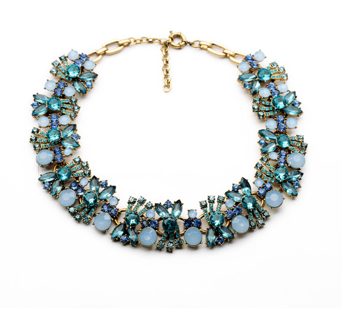 Blue & Pink Chunky Floral Crystal Necklace Perfume Women Bijoux Statement Necklace Party Wedding Jewelry Collier exaggerated enamel flower layered chain big imitation pearl necklace perfume women beaded chunky statement necklace