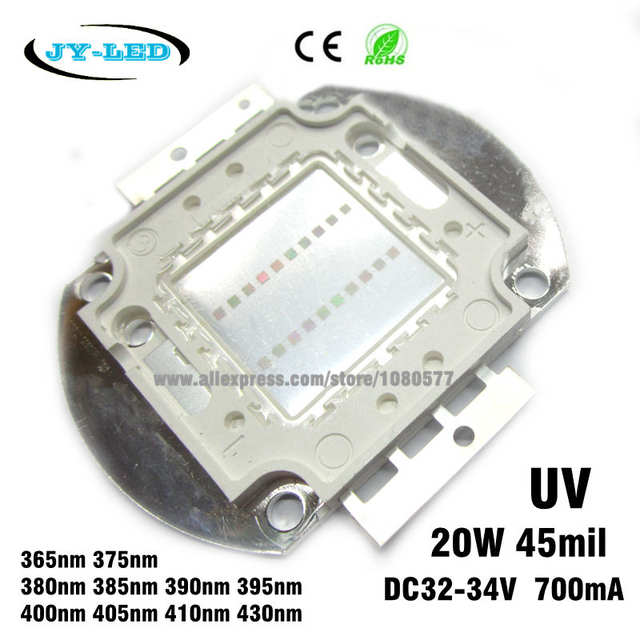 3 Watt LED Chip Grow 700mA 390nm 410nm UV Ultraviolet 3W Epistar HighPower 3,4V