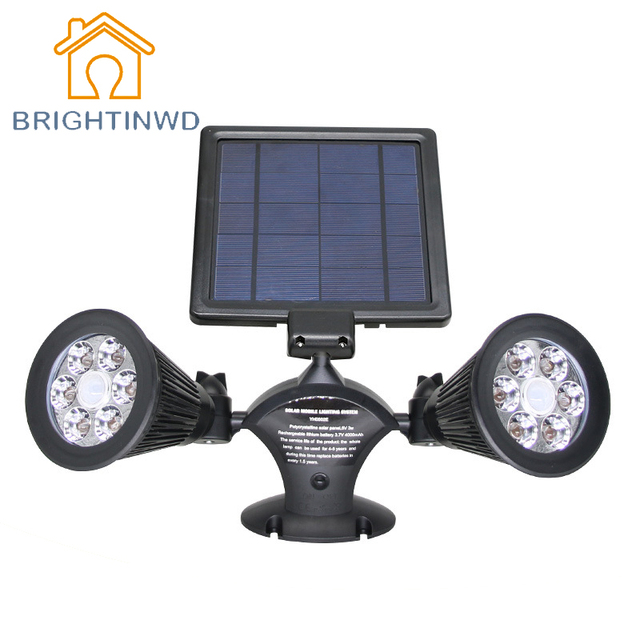 The New Solar Lamp Body Induction Light Intelligent Solar LED Garden  Lighting Waterproof Double Head Lights