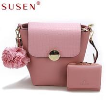 SUSEN 2 PCS Sets PU Flower Crossbody Bag Women Fashion Sequined Lock Solid Serpentine Patchwork Messenger