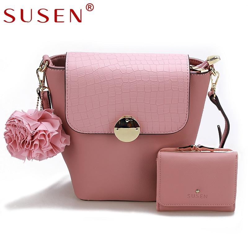 SUSEN 2 PCS font b Sets b font PU Flower Crossbody Bag Women Fashion Sequined Lock