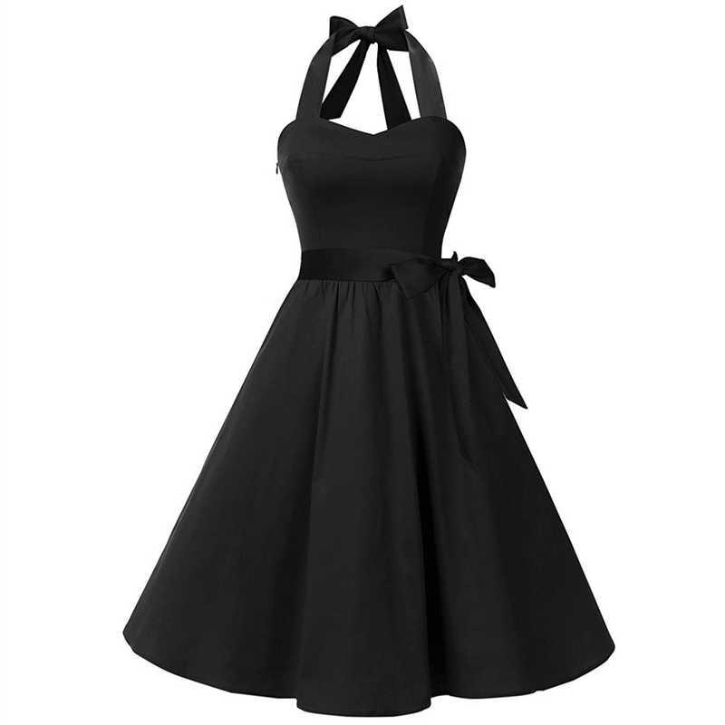 Chamsgend 여성용 대형 레트로 헵번 스타일 빅 솔리드 컬러 홀터 드레스 여성 캐주얼 쉬폰 민소매 미니 드레스 oc15