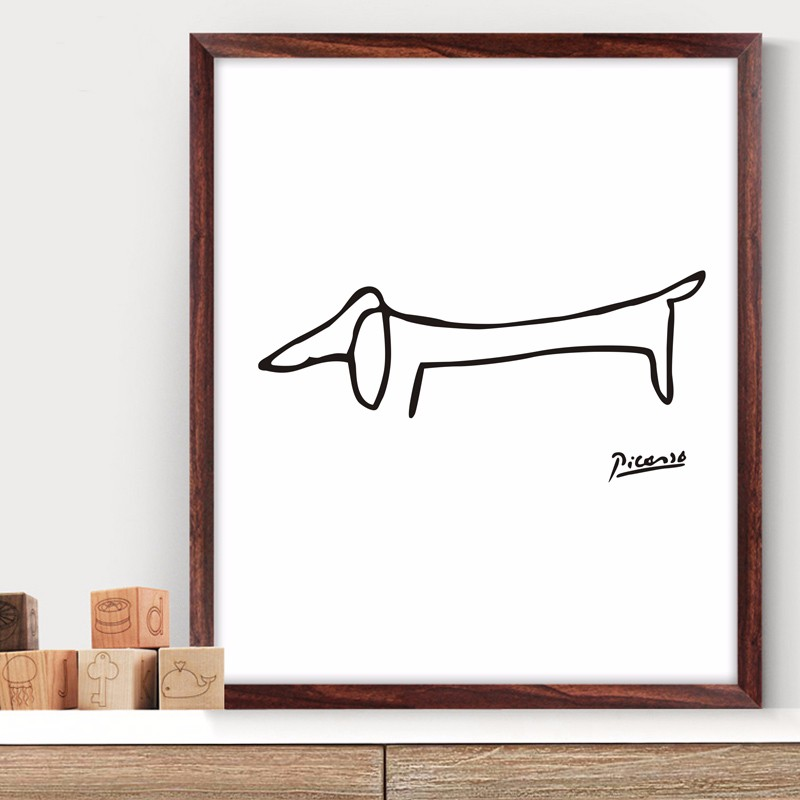 Pablo Picasso The Dog Print Canvas Abstract Animals Minimalist Wall Art Kids Room Bar Office, Home Decor, frame not included