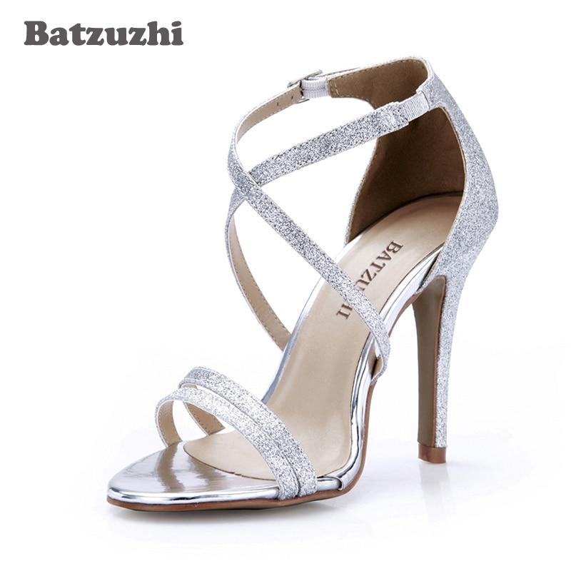 Boda Zapatos Las 35 Sandalias Novia Plata Batzuzhi Mujeres Tacón 13lFKuTJc