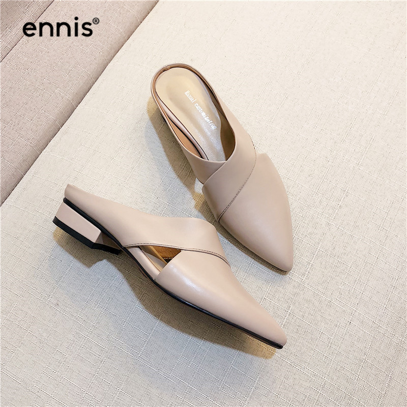 2019 Spring Pointed Toe Shoes Women Pump Slippers Fashion Low Heel Mules Genuine Leather Summer Outdoor