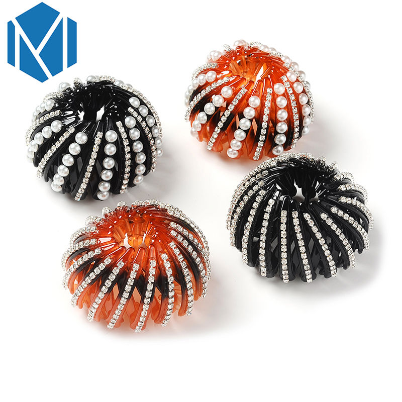 Crystal Rhinestone Hairpin Women Hair Accessories Bud Hair Claws Ties Ornaments Ponytail Holder Donut Hairstyle Headwear Gifts Apparel Accessories