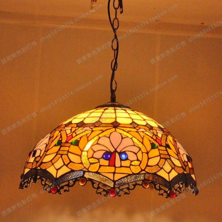 18 дюймовый американской моды цвет люстра Европейский Стиль Тиффани стекла лампы кафе ретро ностальгия освещение Винтаж свет