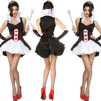 2018 Sexy Femmes Lady Love Coeur Reine Cosplay Costume Performance Jeu Costumes Robe de Partie de Mascarade Fournitures Pourim