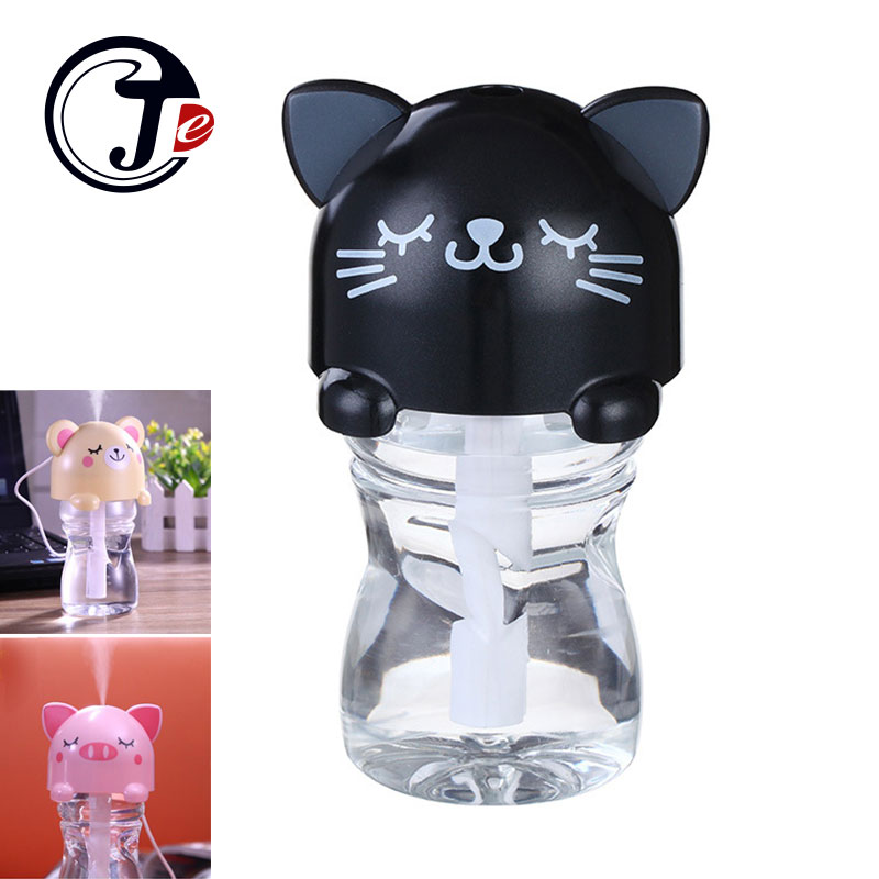 280ML USB Mini Cartoon Humidifier with Bottle Aroma Diffuser Air Purifier Mist Maker Ultrasonic Humidifier with LED Night Lamp
