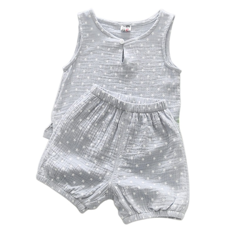 Baby Summer Children Star Tree Printed Sleeveless Boys Girls Tank Tops and Shorts 2 pcs Suits Outfits Clothing Sets New Arrival free shipping 2017 winter thickening children s suits baby boys and girls pentagram smiley face velvet 2pcs sets