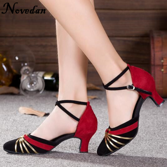 2017 Brand New Red Gold Silver Black Latin Dancing Shoes Women's Closed Toe Salsa Shoes Party Ballroom Dancing Shoes Low Heels