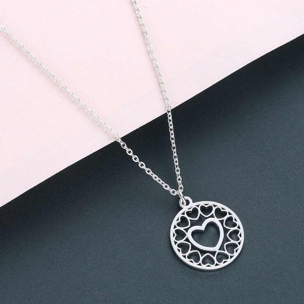 QIMING Hollow Love Heart Pendant Necklace For Women Girls Wedding Stainless Steel Jewelry Rose Gold Korean Necklaces Collier