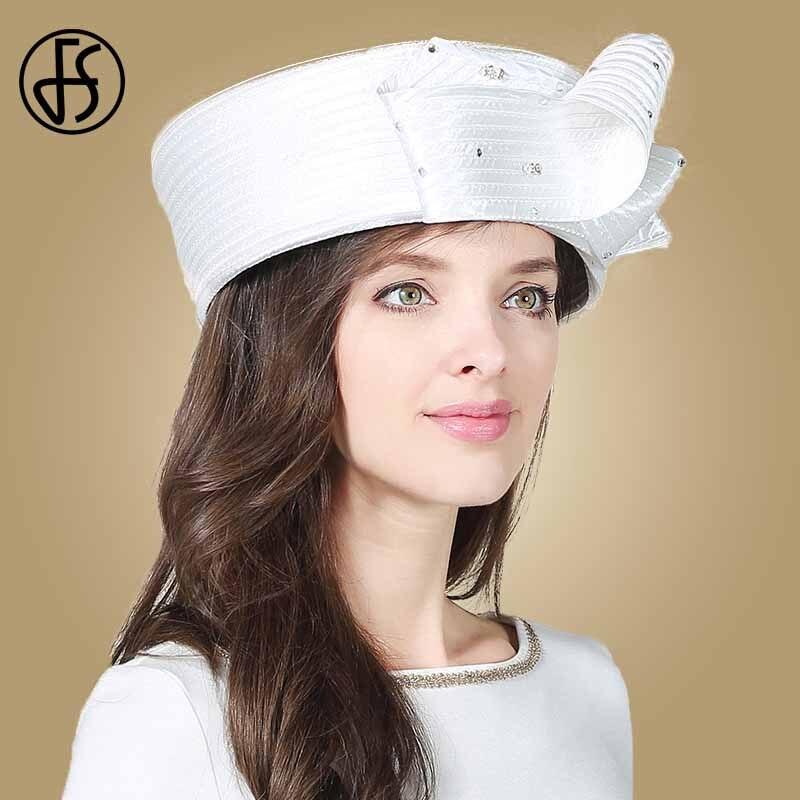 FS Vintage Fascinator blanco sombrero Fedora para mujer sombreros de fiesta de té de la Iglesia de la boda dama sombreros con diamante Kentucky Derby sombrero - 3