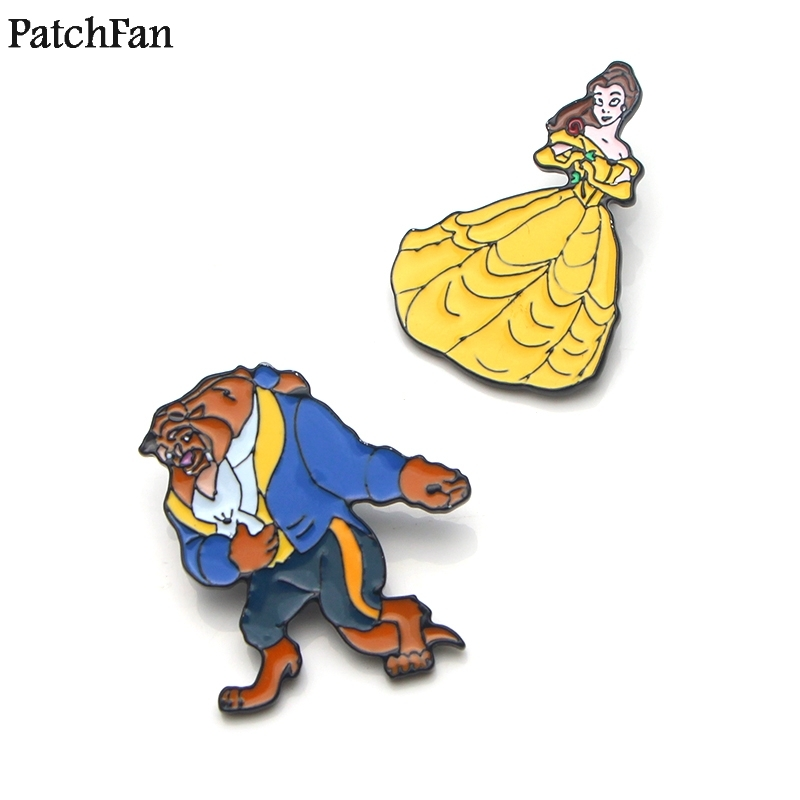 Home & Garden Apparel Sewing & Fabric 20pcs/lot Patchfan Beauty And The Beast Zinc Cartoon Funny Pins Backpack Clothes Brooches For Men Women Hat Badges Medal A1831 Unequal In Performance