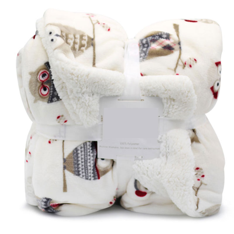 Double-Sided Flannel Baby Blanket Newborns Cute Cartoon Children's Blanket Soft And Warm Samll Blankets In Autumn And Winter