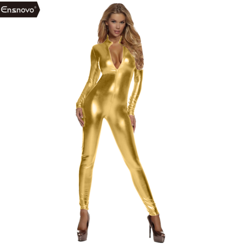 Ensnovo Women Spandex Lycra Nylon One Piece Shiny Metallic Catsuit Long Sleeve Zipper Front Bodysuit Մաշկի կոշտ կոստյումներ զգեստները