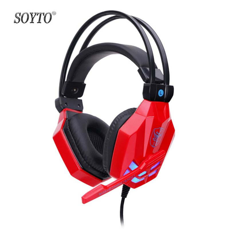 NEW SOYTO SY850MV Computer Headsets Bass Stereo Noise Cancelling Headphones With Mic LED Light Gamers Voice Calls Gaming Headset sy850mv new gaming headsets with lights portable office wired noise cancelling headbands with microphones for computers pc