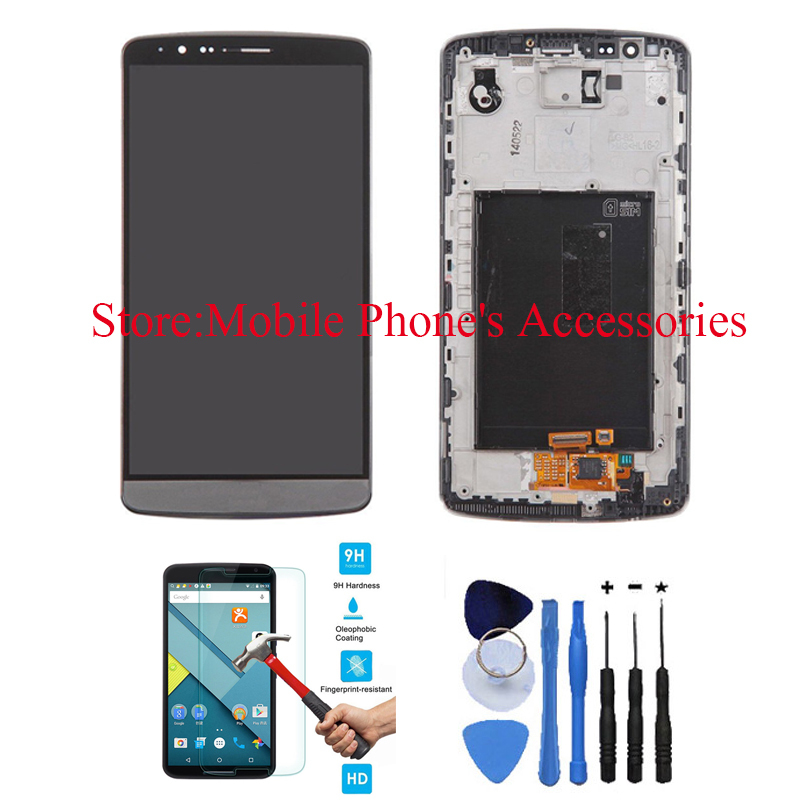 OEM 100% test LCD Touch Screen Digitizer Assembly with Front Housing Replacement For LG G3 D850 Black + free tools