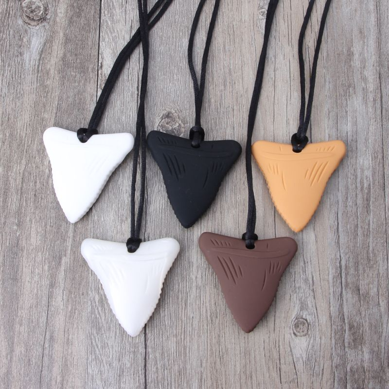 Shark Tooth Silicone Teething Necklace Baby Teether Chew Pendant BPA Free Beads