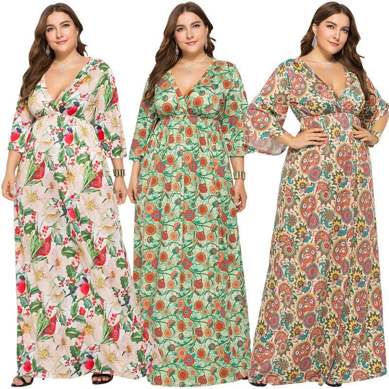 Casual Maxi Beige Nouveau Mode blanc La Femmes Automne Élégant Sexy Plus Imprimer Robe 2018 Ol Taille Parti De vert fb6gY7yv