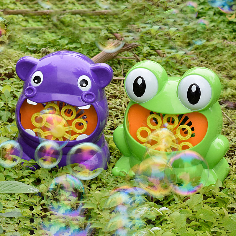 New Bubble Gun Cute Frog Automatic Bubble Machine Soap Water Bubble Blower Music Outdoor Toys For Kids Juguetes Brinquedos Toy