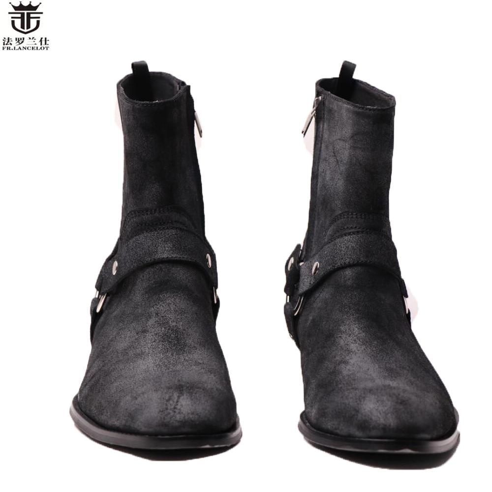 2018 ФР.Ланселот Челси короткие сапоги мода мужчины бренд реального кожаные зимние ботильоны на молнии низкий острым носом мужчины обувь новый desigen