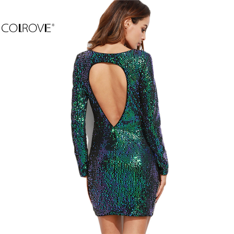 COLROVIE Womens Sexy Dresses Party Night Club Dress Bodycon Sexy Dress Club Wear Iridescent Green Open Back Sequin Bodycon Dress