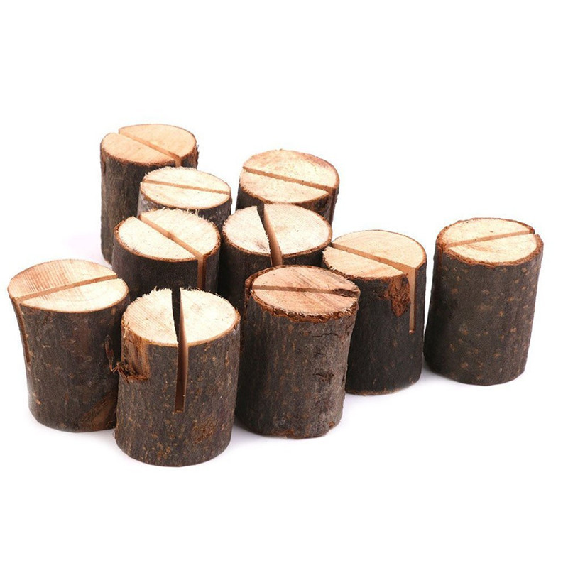 5PCS/10pcs Wooden Stump Wedding Party Reception Place Card Holder Stand Number Name Table Menu Picture Photo Clip Card Holder image