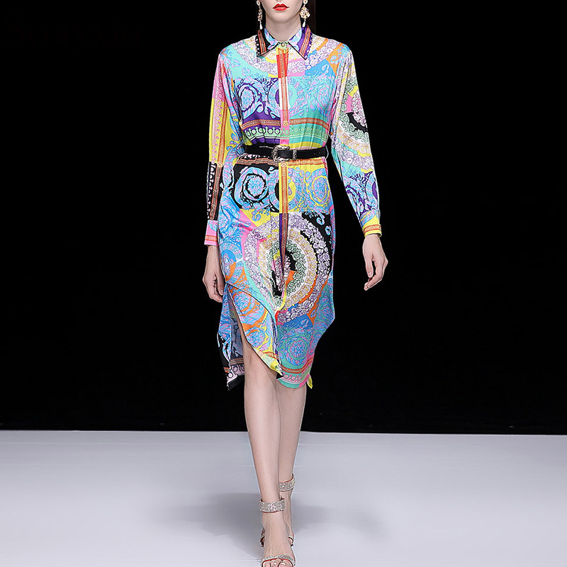 Svoryxiu High Quality Autumn Big Size Custom Made Dress Women s Fashion Colourful Printed Vintage Runway