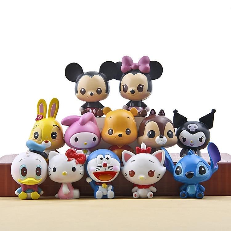 все цены на Disney Products For Kids New Brand Anime Action Figures 12 Pcs/Set Cute Cartoon Dolls Mini Mickey Models Brinquedos F048
