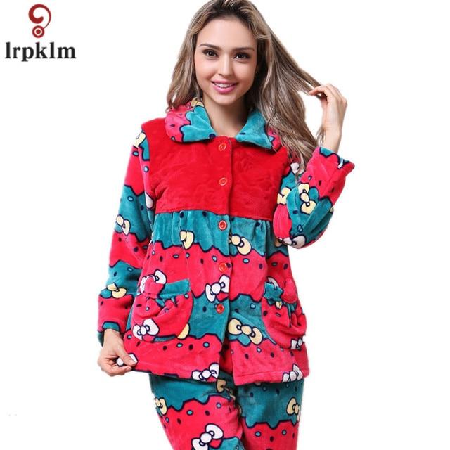 best service 14292 003ab US $84.6  Nachtwäsche Damen Pyjama Set Winter Warme Flanell Pyjamas Langarm  Korallen Fleece Frauen Pyjama Anzüge Hause Tragen Freizeit Tragen SY812 in  ...
