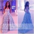 Árabe vestido de Noche Largo Vestidos de Novia Sin Espalda Raja Del Colmo de Encaje Azul Claro de Las Mujeres Formal de Los Vestidos de Una Línea de Vestidos de Noche de Dubai 2017