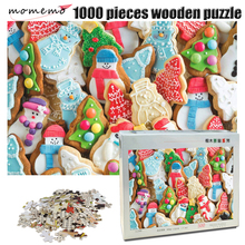 MOMEMO Christmas Cookies Wooden Puzzle Adult 1000 Pieces Jigsaw Lovely Pattern Childrens Educational Toys Gifts
