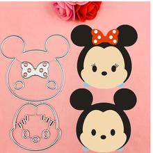 Lovely Mickey Minne head Bow Ear Cutting Dies Stencils for DIY Scrapbooking/photo album Decorative Embossing Paper Cards