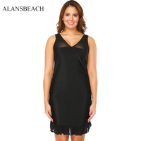ALANSBEACH Black Color V Neck Swimsuit Long Beach Dress Cover Up Two Piece High Waist Bathing