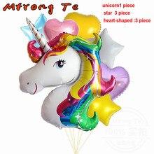 7pcs Lot Unicorn Star Heart Aluminum Balloons Birthday Party Wedding Decoration Baby Shower Toys Gift