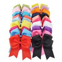 20 Unids/lote 6 Pulgadas Boutique Popular Hecha A Mano Del Arco Del Pelo Con Clip de cola de Milano Moda Pelo de Las Muchachas Accesorios Del Partido/Baile Cheerbow