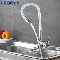 LEDEME Pull Out Kitchen Faucet Water Save Rubber Tube Cold Hot Water Mixer Single Hole Rubber
