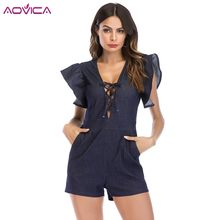 1a75972683f Aovica Women Summer Denim Jumpsuit Short Overall Casual Jeans Lace Up Playsuits  Shorts Rompers Girls Shorts Denim Overalls