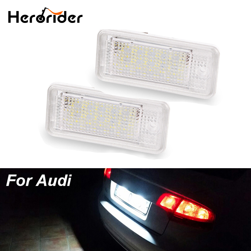 2pcs 2Pcs 3W 18 SMD Led Number License Plate Light Led Bulb Number Plate For Audi A4 A6 C6 A3 S3 S4 B6 B7 S6 A8 S8 Rs4 Rs6 Q7