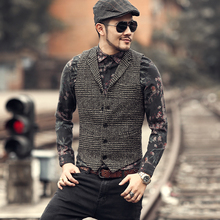 2018 Men new winter retro plaid slim lapel woolen vest slim Mens England style vintage suit vest fashion brand design waistcoat