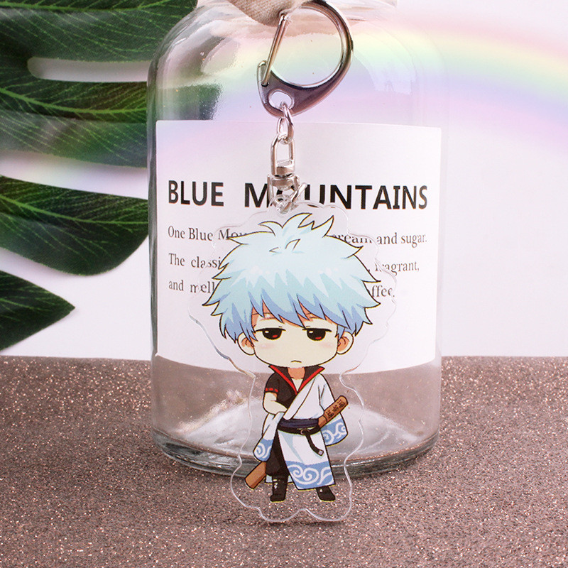 Anime Gintama Keychain Japanese Cartoon Gintoki Sakata Acrylic Car Key Holder Chain Pendants Keyrings Jewelry Accessories