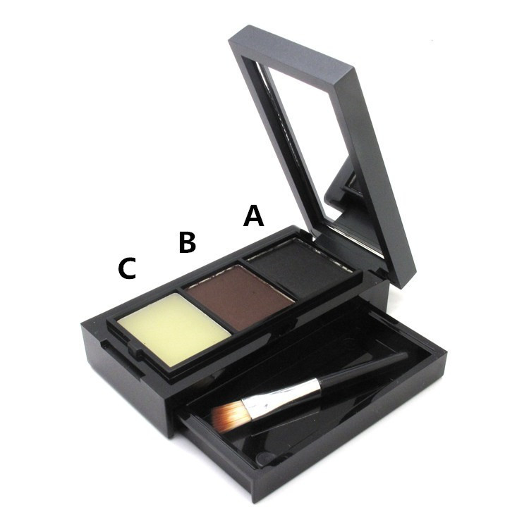 Hot Sale Professional Eye Shadow Eye Brow Makeup 2 Color Eyebrow Powder + Eyebrow Wax Palette + Brush + English Instruction 2
