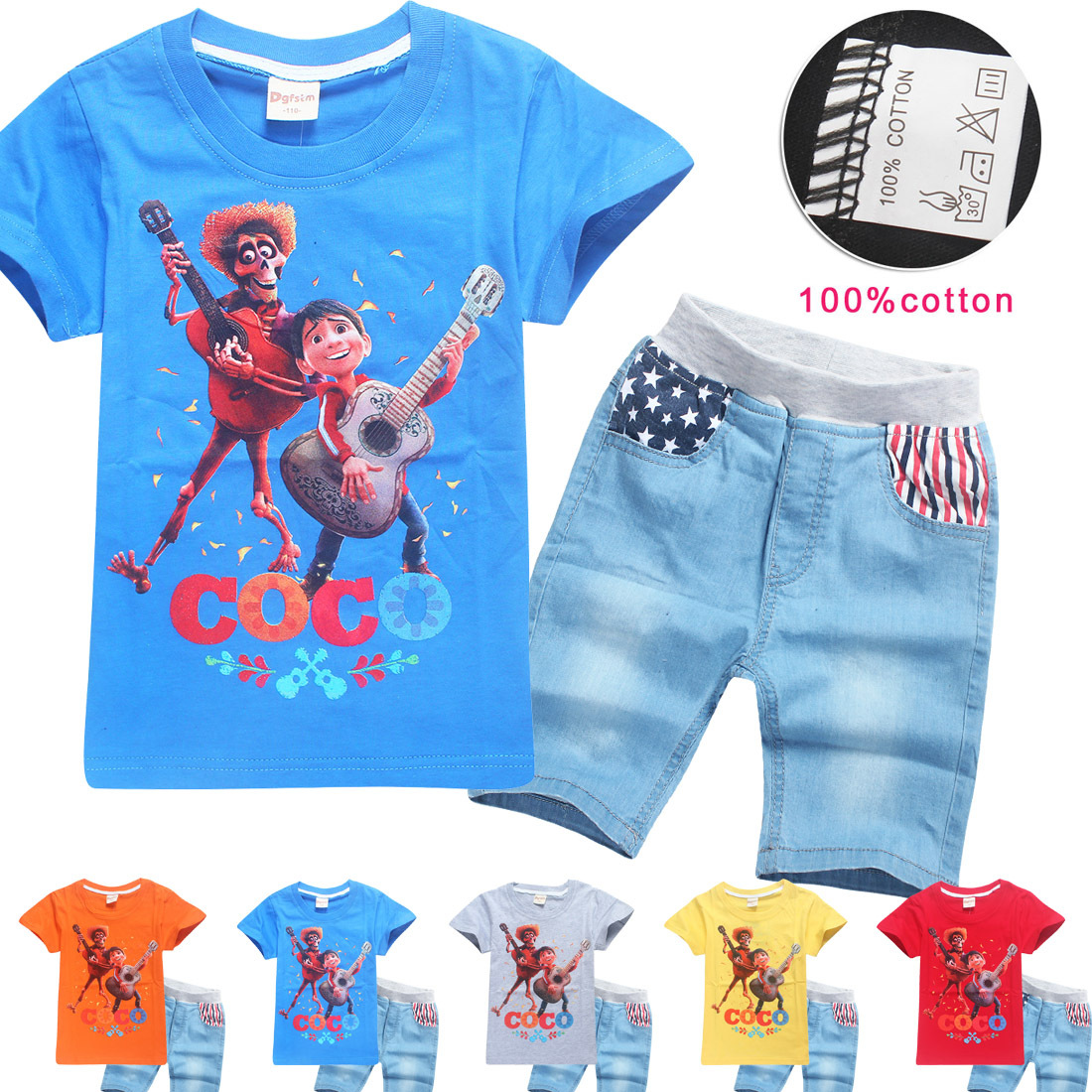 2018 Cotton Wear Kids summer Set COCO children T Shirts and Jeans Baby Boys Girls Short Sleeve Blouse Clothes children's set new fashion kids clothes set baby boys summer 2pcs set short sleeve t shirt and striped short outfit children set