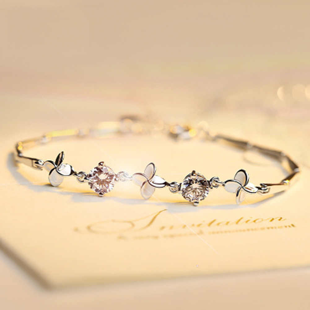Female Four Leaf Grass Sweet Jewelry Silver Color Flower  Bracelet Accessories Birthday Gift